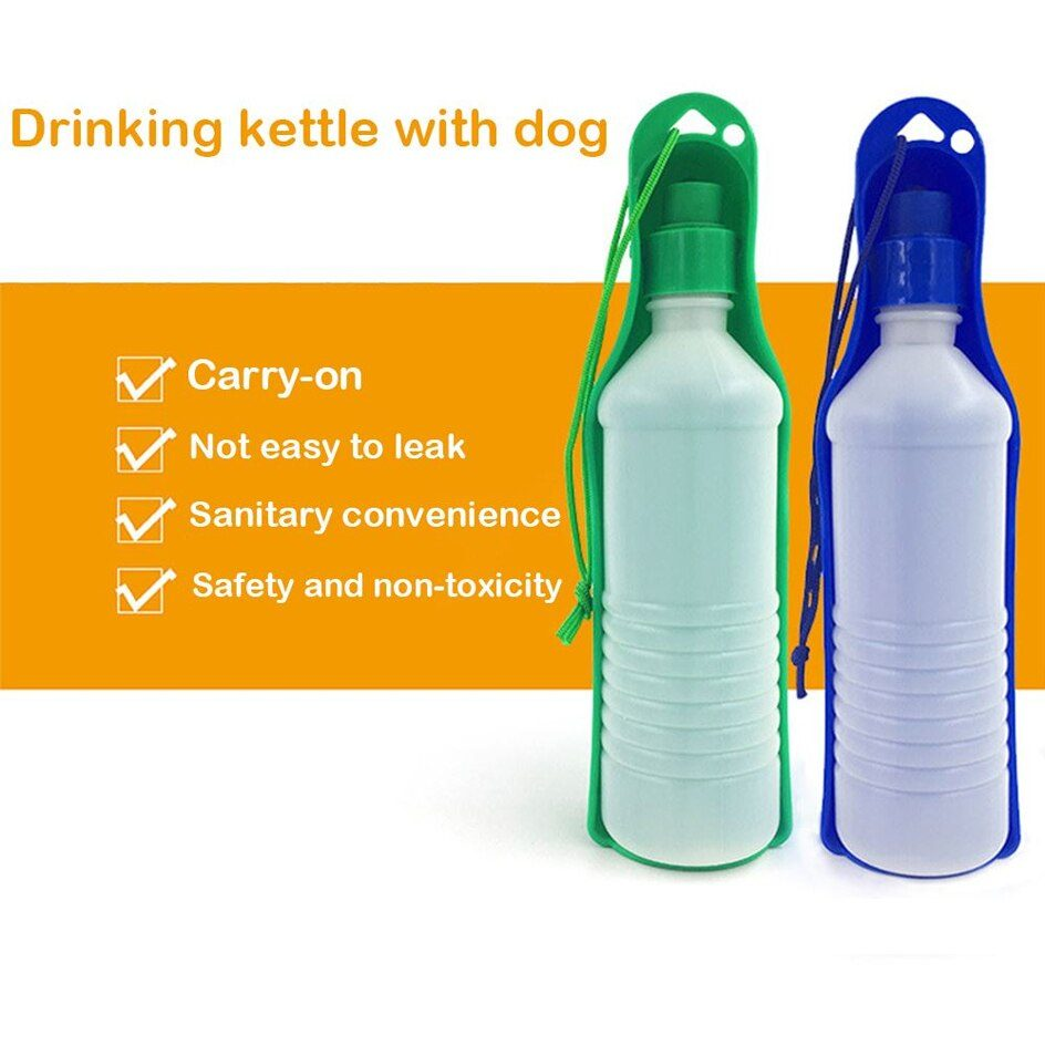 250ml/500ml Pet Dog Water Bottle Plastic Portable Water Bottle Pets Outdoor Travel Drinking Water Feeder Bowl Foldable