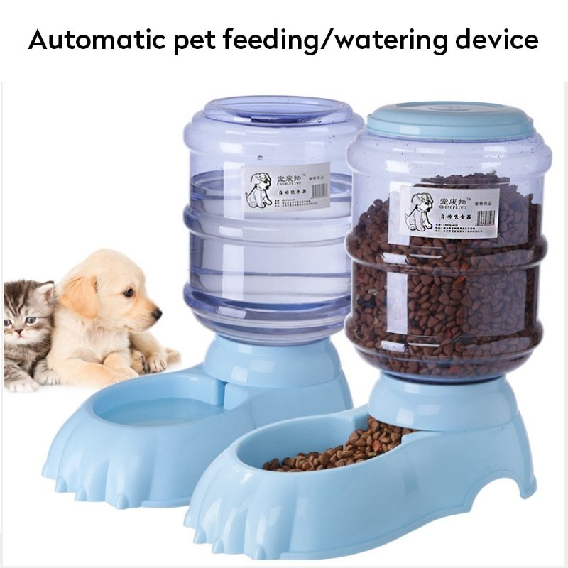 3.8L Automatic Pet Feeder Dog Cat Feed Bowl Water Bottle Large Capacity Water Food Dispenser For Pet Cats Dogs