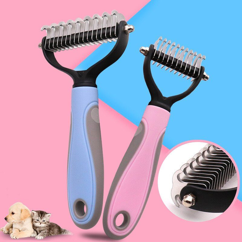 Pets Fur Knot Cutter Dog Grooming Shedding Tools Pet Cat Hair Removal Comb Brush Double sided Pet Products Suppliers