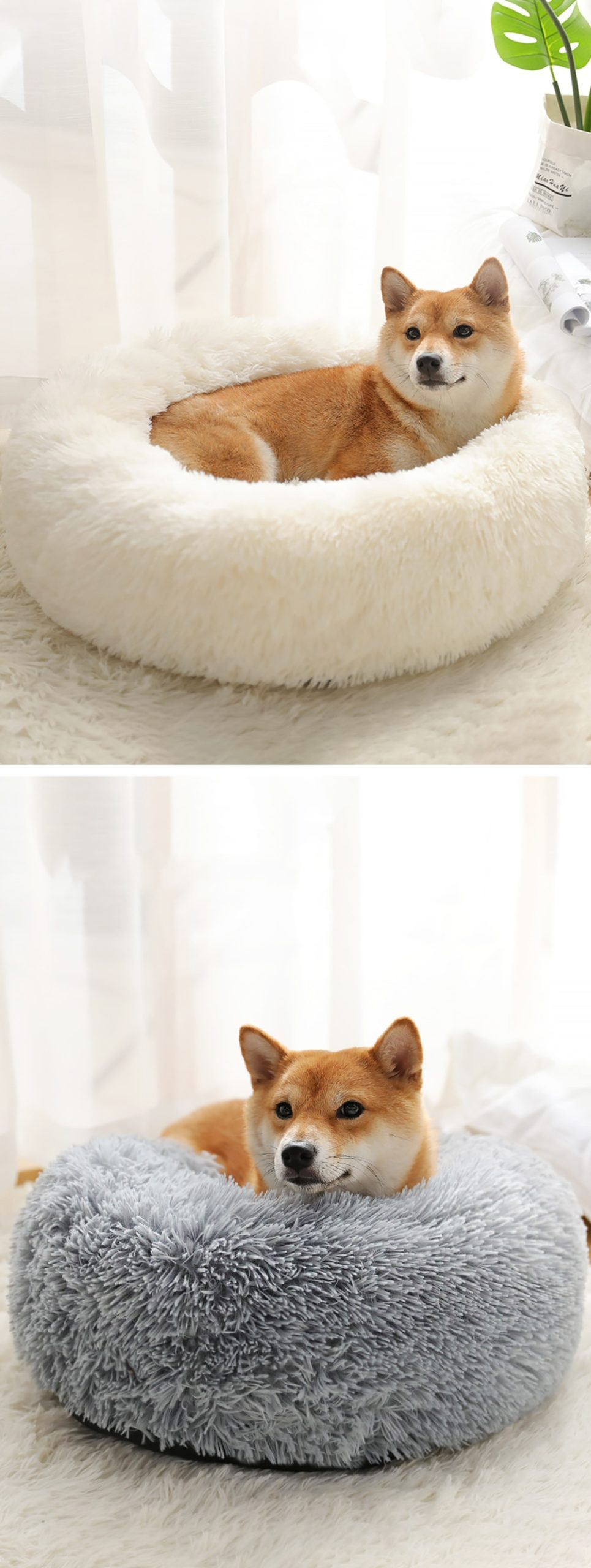 Long Plush Pet Bed Cat Super Soft Bed for Dogs Kennel Dog Round Winter Warm Sleeping  Puppy Cushion Mat Portable Cat Supplies