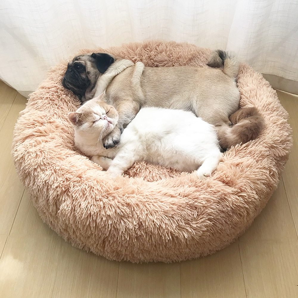 Dog Pet Bed Kennel Round Cat Bed Winter Warm Dog House Sleeping Bag Long Plush Super Soft Pet Bed Puppy Cushion Mat Cat Supplies