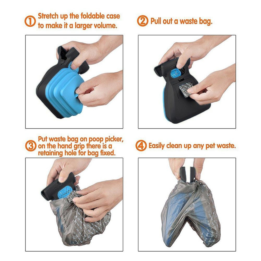 Dog Pet Shovel Travel Foldable Poop Collector with 1 Roll Decomposable Bags Poop Scoop Clean Pick Up Excreta Cleaner Pet Product