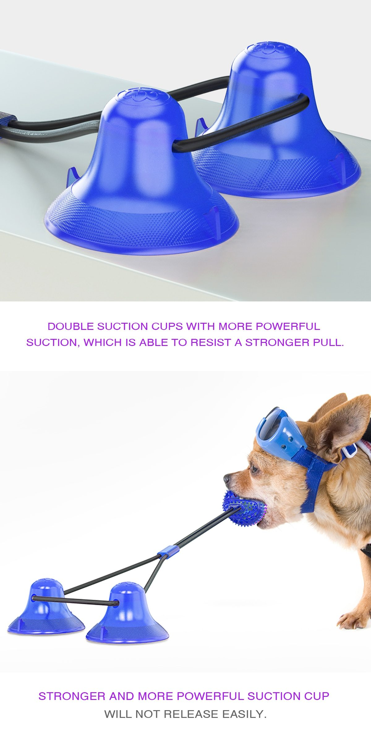 Dog Interactive Suction Cup Push TPR Ball Toys Elastic Ropes IQ Treat Toys Pet Puppy Supplies Dog Tooth Cleaning Chewing Playing