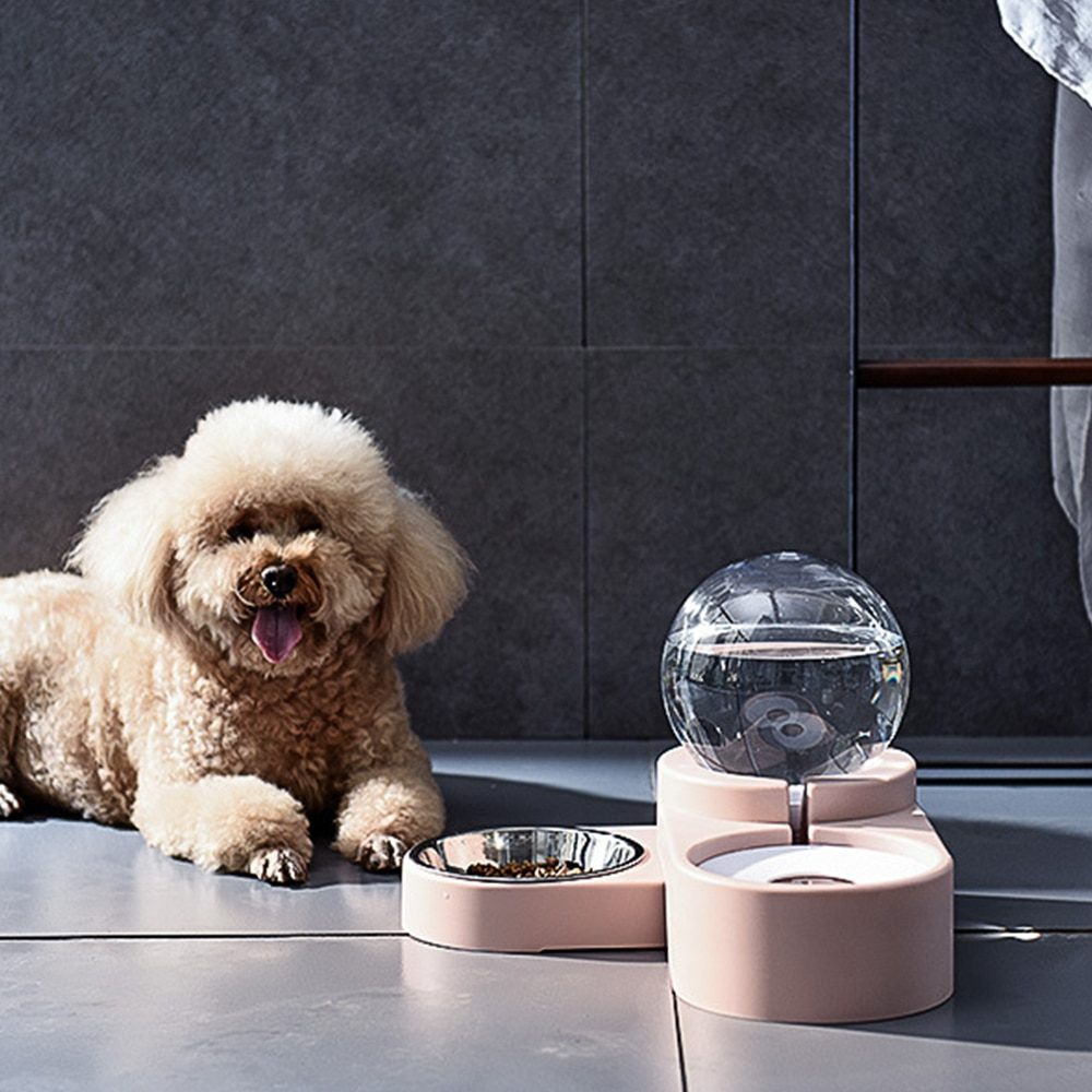 Pet Cat Dog Water Food Feeder Automatic Dispenser 1.8L Bubble Container Stainless Steel Bowl For Drinking Eating 2020 Sale