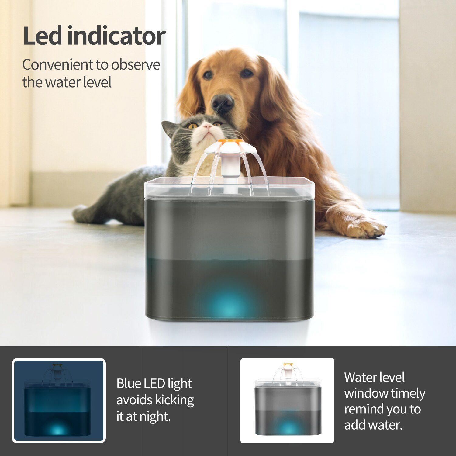 Cat Water Fountain  Bowl Automatic Pet Water Feeder Dog Drinking Dispenser Bowl  Container with LED Level Display