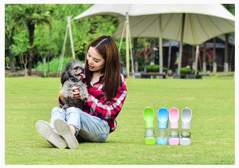 Lightweight Pet Cat Dog Food Water Bottle Feeder Drinking Bowl Dispenser With Food Container Leak Proof Lock Food Grade Material
