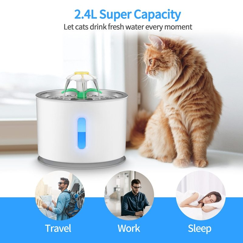 2.4L Automatic Pet Cat Water Fountain with LED Electric USB Dog Cat Pet Automatic Pet Drinking Fountain Dispenser