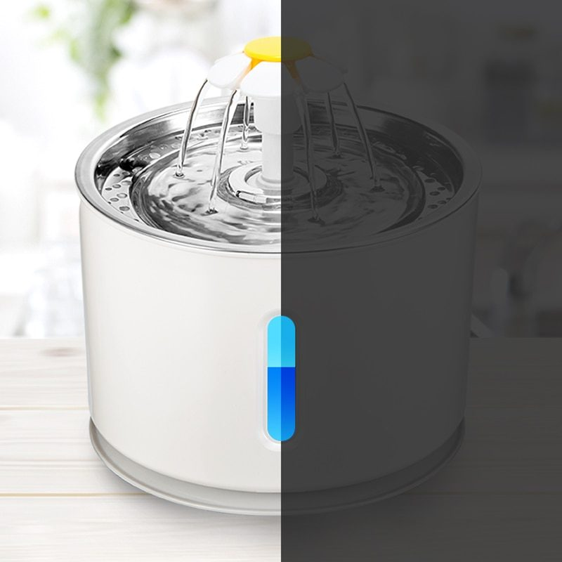 Pet Dog Cat Bowl Automatic Fountain Electric Water Feeder Dispenser Container With LED Water Level Display For Drink