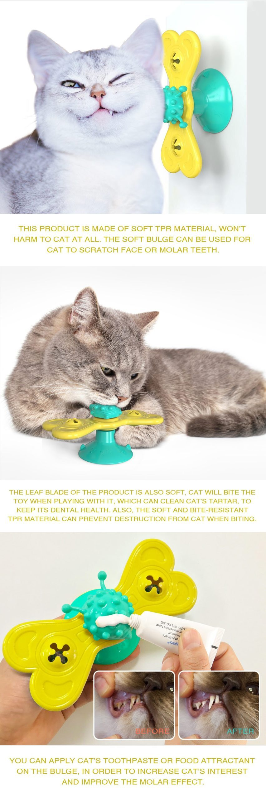 Silicone Windmill Interactive Pet Cat Toy Kitten With Massage Brush For Cats Playing Turntable Ball Scratching Training Hot Sale