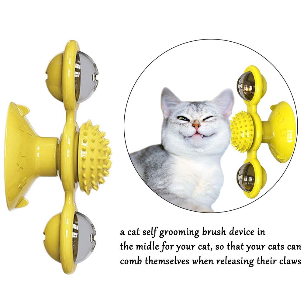 Pet Dog Cat Toy Windmill Toothbrush With Catnip Whirling Turntable Teasing Scratching Tickle Ball Puzzle Toy Pet Products Supply