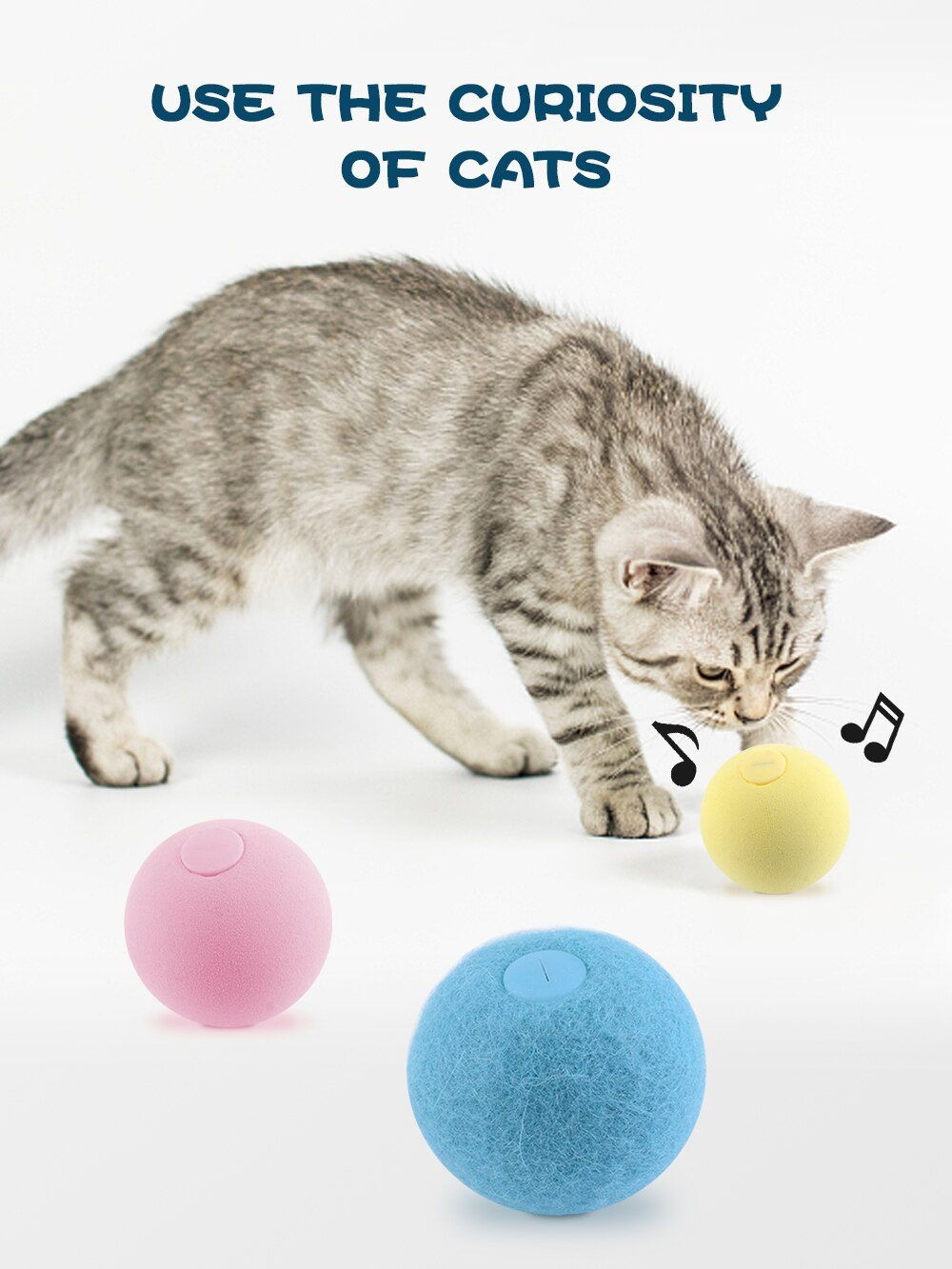 Cat Squeaky Ball Toy Simulation of Automatic Smart Animal Sound Interactive Gravity Ball Catnip Toys for Kitten Kitty Playing