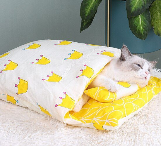 Kawaii Removable Cats Bed House Home Supplies Products for Adult Cats Large Pet Dog Bed Cat's House Cave Comfortable  Food Cute