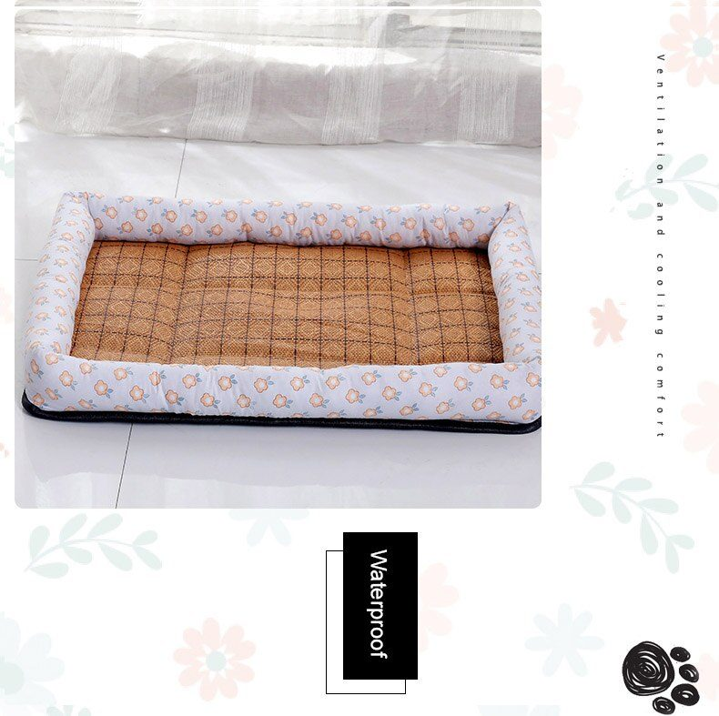 Summber Pet Bed Dog House Lounger Bed Kennel Mat Soft Fiber Pet Dog Puppy Cool Removable Washable Waterlon for Cats