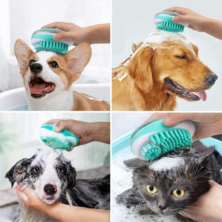 Pet Dog Cat Bath Brush Pet SPA Massage Comb Soft Silicone Pet Shower Hair Grooming Cmob Dog Cleaning Tool Pet Supplies