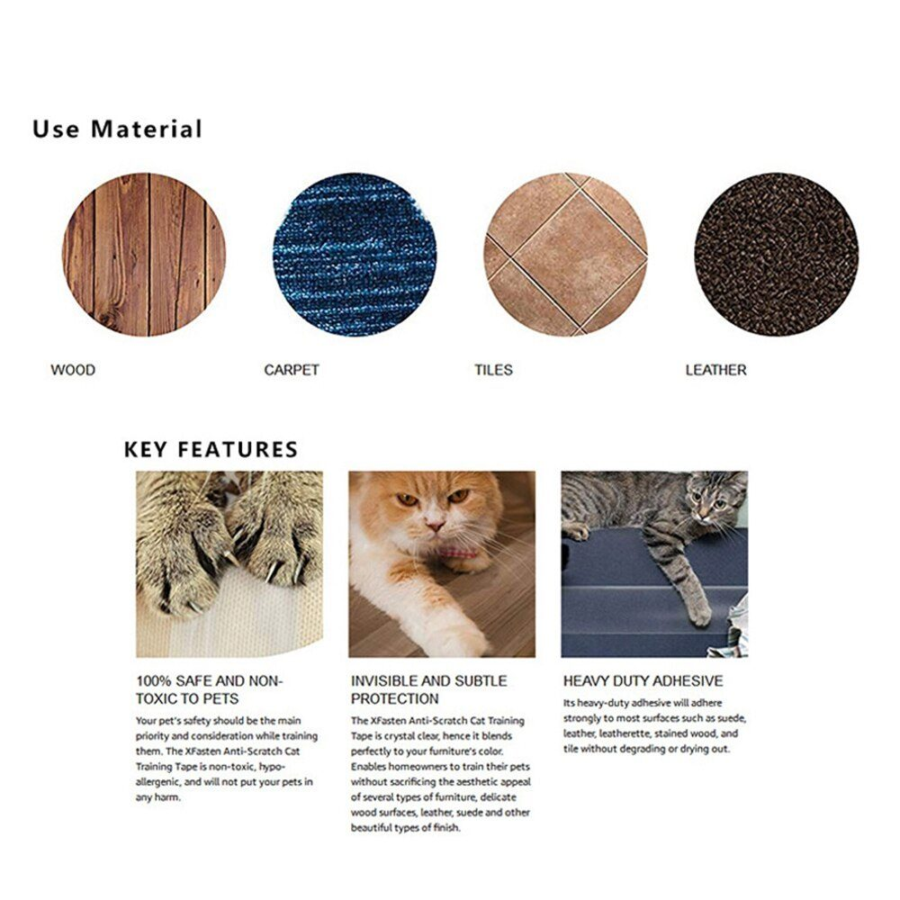 Pet Sofa Protective Tape Prevent Cat Scratching Furniture Anti-Scratch Film Training Sticker Protective Kitten Claw Paw Pads