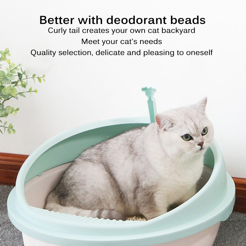 New Round Pet Litter Tray Simple And Open Semi-Enclosed Cat Sand Basin Plastic Semi-Enclosed Litter Box Durable And Practical