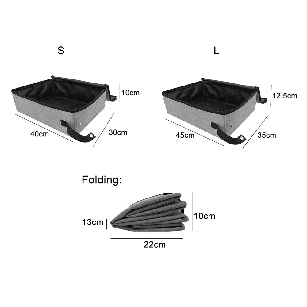 Home Traveling Pet Accessories Outdoor Camping Oxford Cloth Toilet Cleaning Waterproof Folding Cat Litter Box With Cover Soft