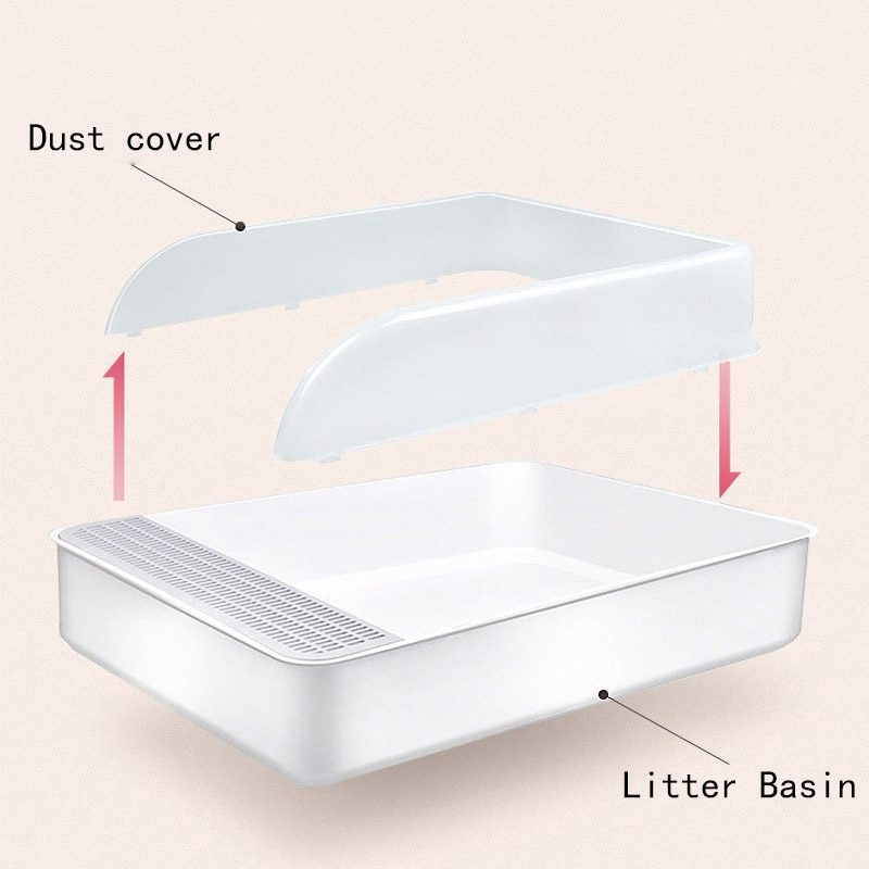 Pet Cat Litter Box Semi-Enclosed With Removable Cover Splash-Proof Plastic Cat Toilet With Scoop Cat Litter Trays Pet Supplies