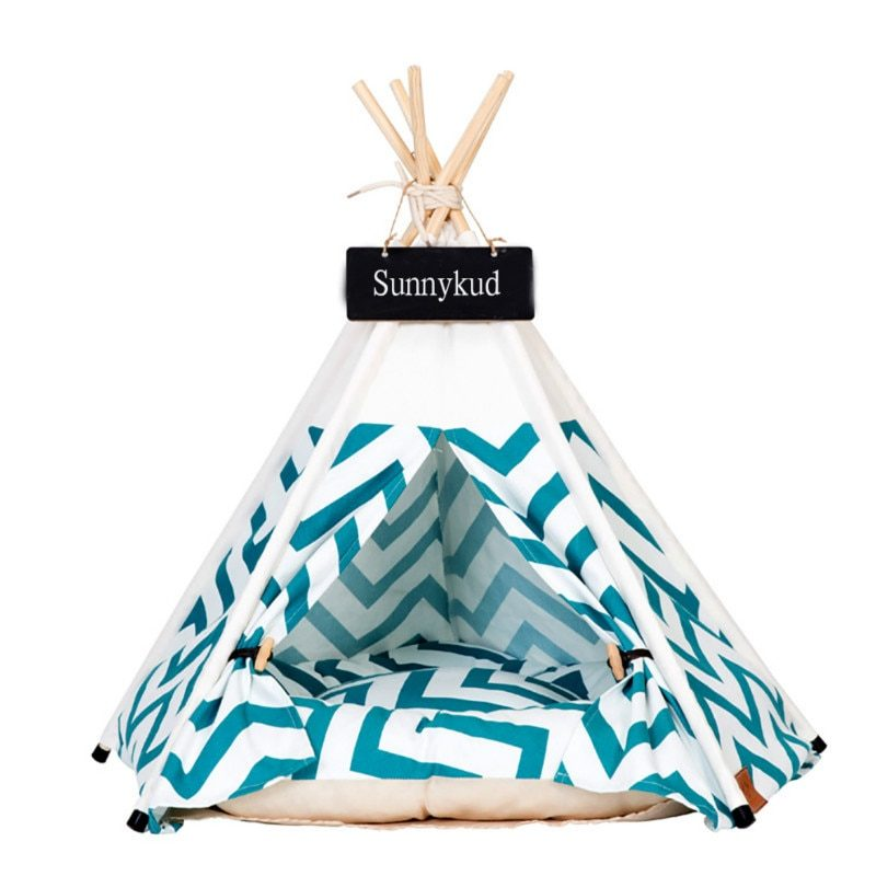 Outdoor Indoor Pet Tent House Cat Bed Portable Teepee With Thick Cushion And 6 Colors Available Fit Dog Cat Puppy Excursion