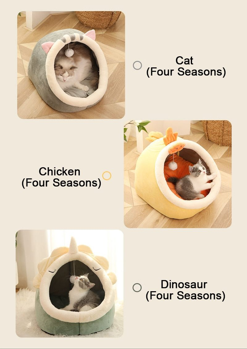 Warm Cats Bed Cute Cats House Kitten Lounger Cushion for Small Pet Sleep Tent Washable Cats Sleeping Bag Soft Dogs Basket Cave