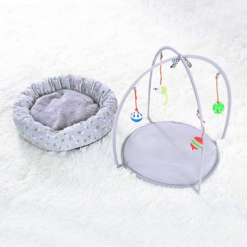 Portable Pet Cat Toys Funny Cat Tent Toys Mobile Activity Pets Play Bed Toys Cat Play Mat Blanket House Detachable Kitten Tents