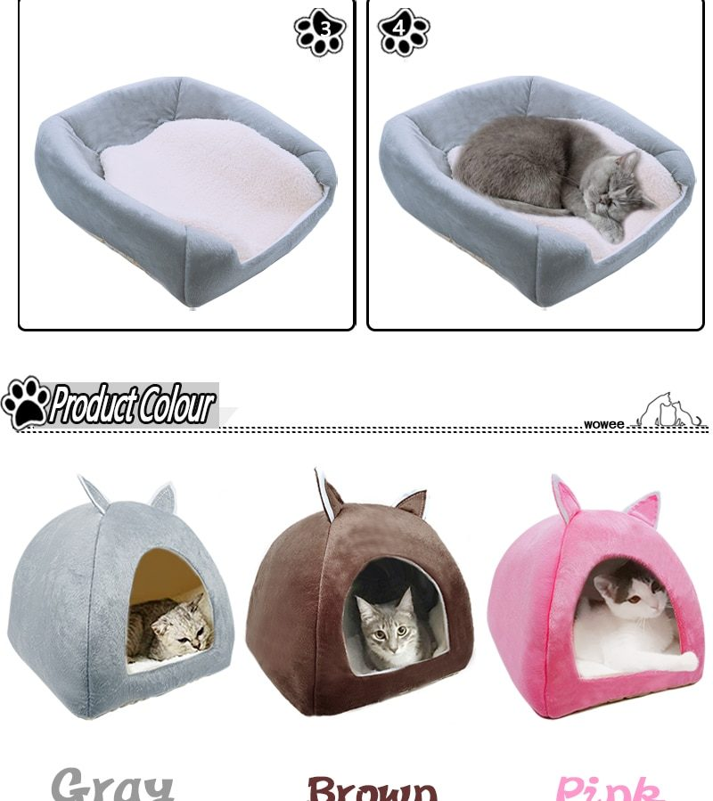 Pet Cat Bed House Dog Cushion Tower Basket Tent  Foldable Puppy Mascotas Casa  Plush Soft Kennel Multi-Purpose Dropshipping