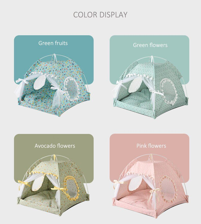 Pet Dog Tent House Flower Print Enclosed Cat Tent Bed Indoor Folding Portable Cozy Kitty Bed Kennel for Small Dogs Puppy Cats