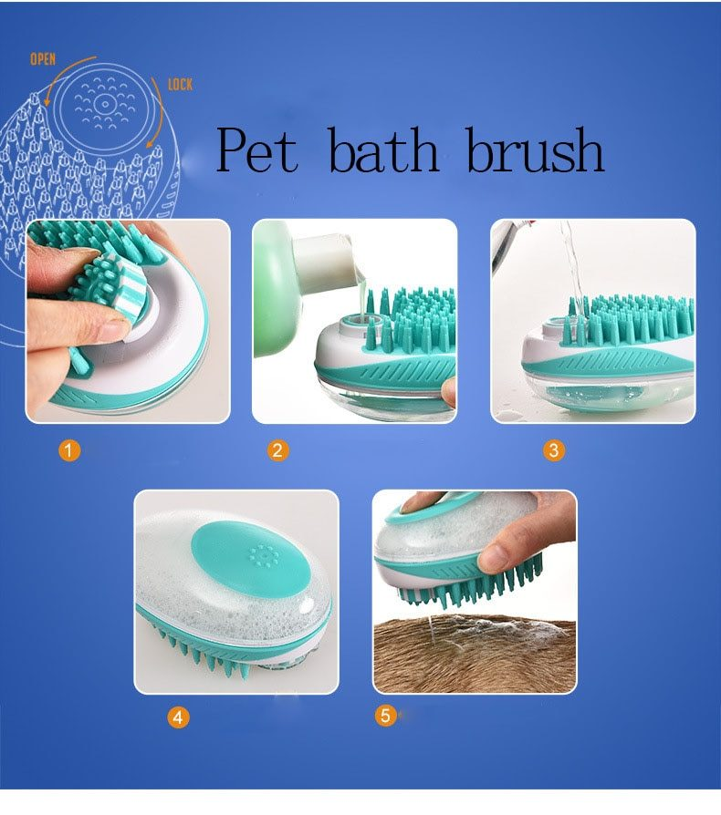 2020 Pet Dog Bath Brush Comb Silicone SPA Shampoo Massage Brush Shower Hair Removal Comb For Dogs Cats Cleaning Grooming Tool