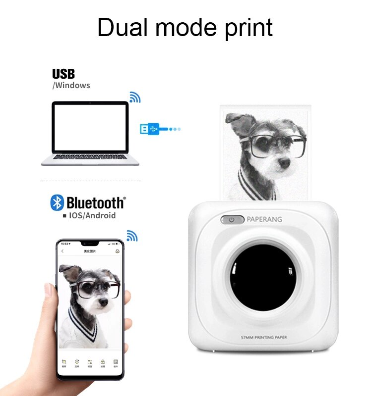 PAPERANG P1 Portable Thermal Bluetooth Printer Mini Wireless Picture Photo Printer For Mobile Phone Android iOS