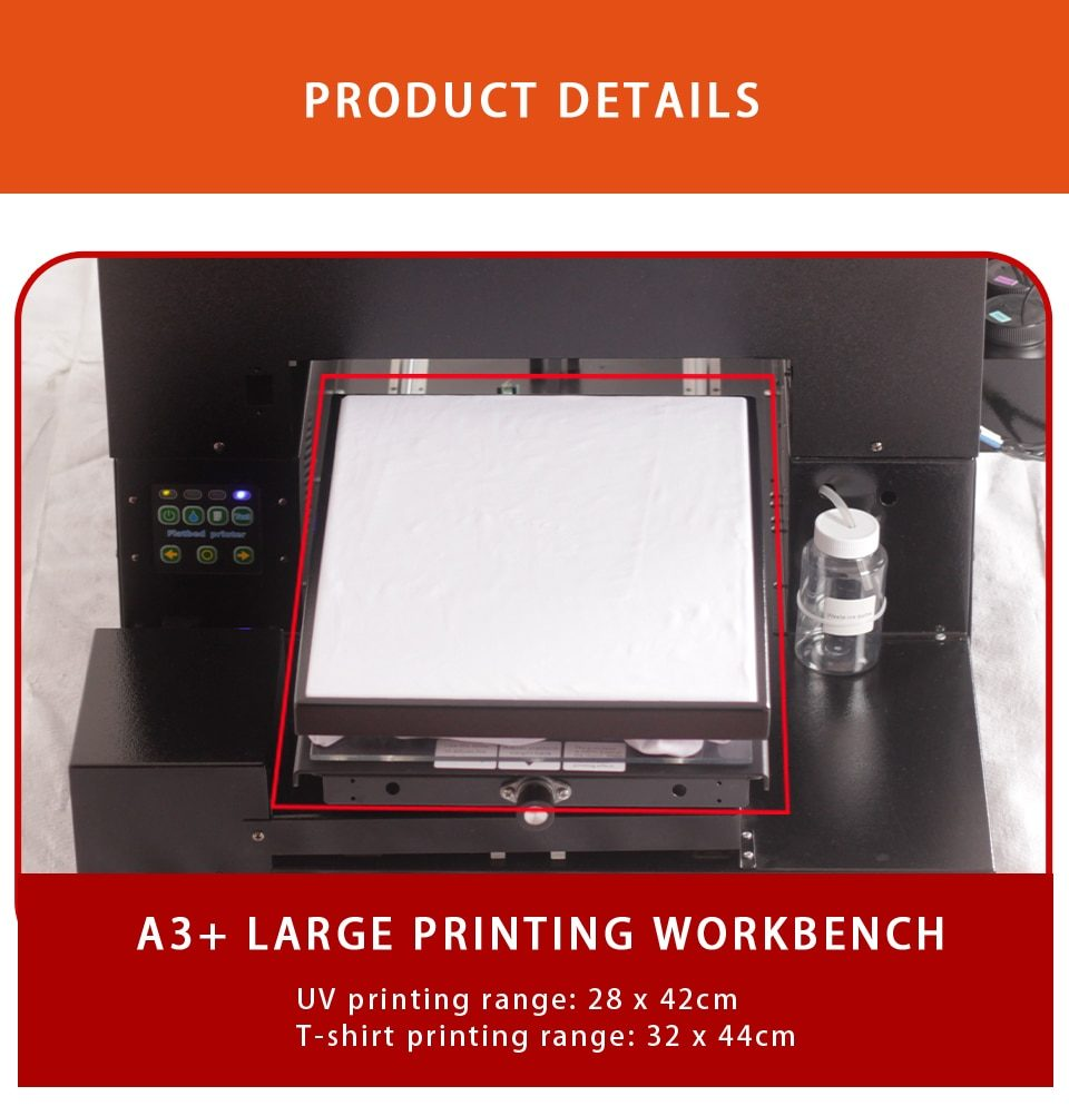 Clothes printer inkjet A3 large format can also print 3D relief and bump printing for mobile phone cases/cosmetic bottles/photos