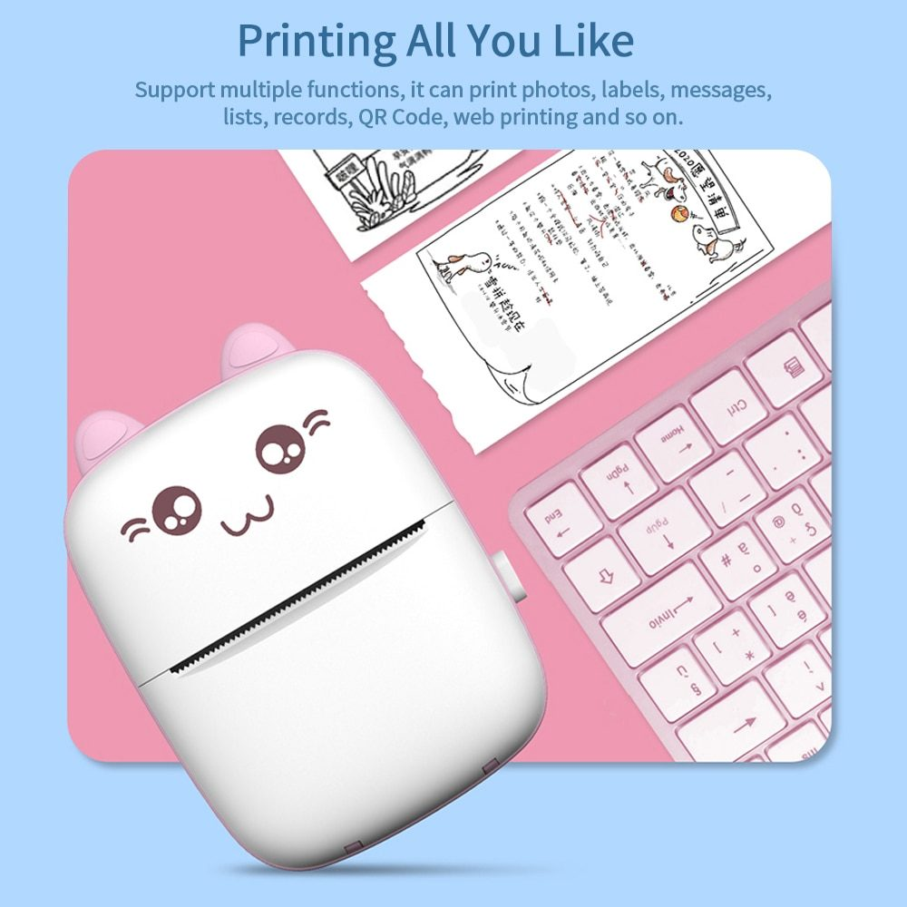 Pocket Printer Portable Thermal Printing Machine Bluetooth Mini Photo Picture Label Office Home Mobile Android iOS Phone 58mm