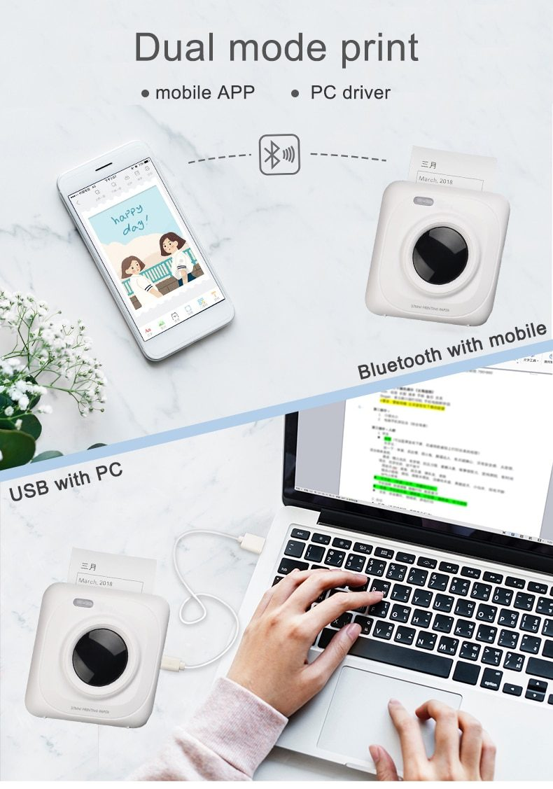 PAPERANG  Pocket Portable Bluetooth Printer Photo Picture HD Thermal Label  With 1000mAh Battery 300DPI P2 P1