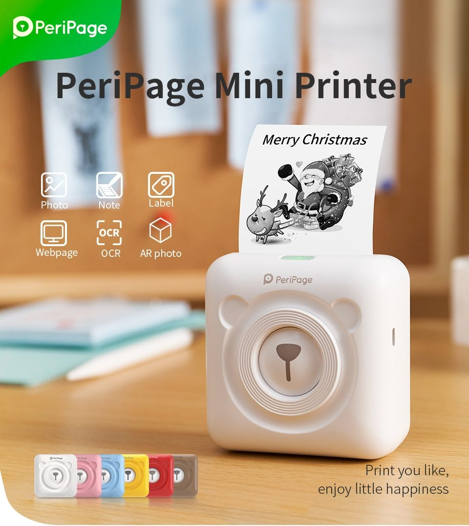 PeriPage Mini Pocket Wireless BT Thermal Printer Portable Photo Printer Rechargable Label Maker for iOS Android Smart Phone