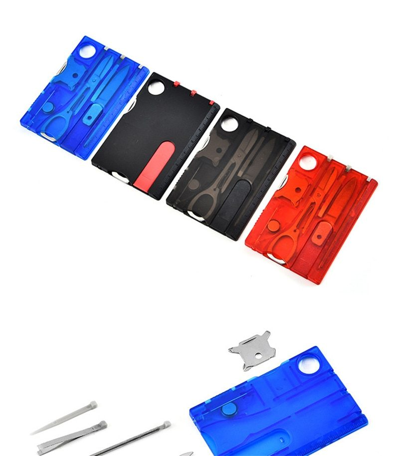 10 In 1 Pocket Credit Card Portable Multi Tools Outdoor Survival Camping Equipment 1 Box Portable Hiking Card Tools Gear