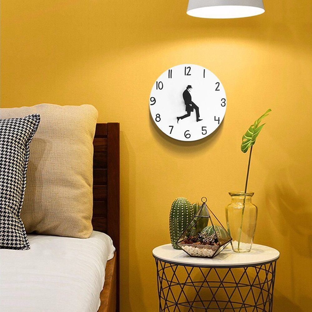 British Comedy Inspired Ministry Of Silly Walk Wall Clock Comedian Home Decor Novelty Wall Watch Funny Walking Silent Mute Clock