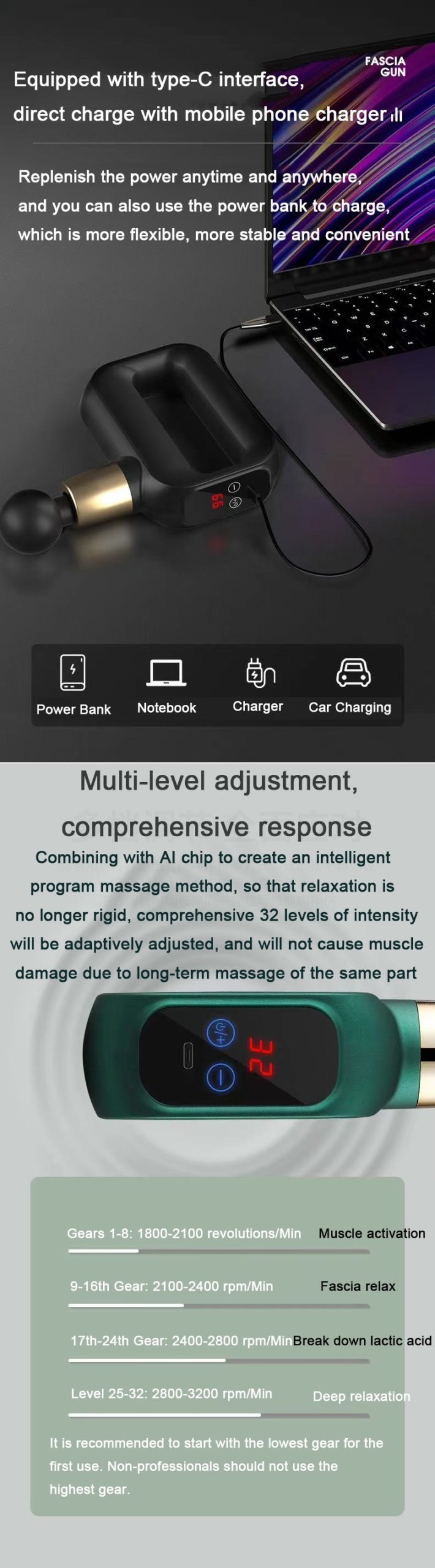 Mini LCD Touch Electric Massage Gun Mini Deep Fascia Body Massager for Muscle Exercising Pain Relaxation Slimming Massage Gun