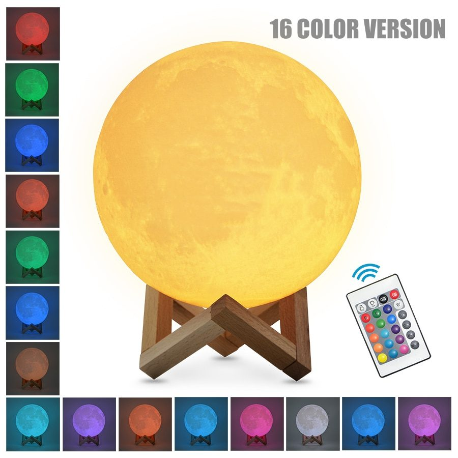 Dropship 3D Print Rechargeable Moon Lamp LED Night Light Creative Touch Switch Moon Light For Bedroom Decoration Birthday Gift