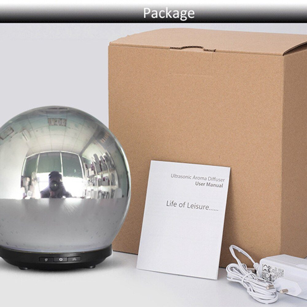 3D Glass Oil Diffuser 200ml Premium Ultrasonic Aromatherapy Oils Humidifier With Amazing LED Night Light Waterless Auto Shut Off